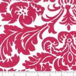 Red Damask on White Fabric ..