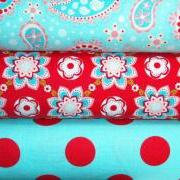 Sugar and Spice Fabric 3 Yard Combo Red and Aqua from Riley Blake Designs New