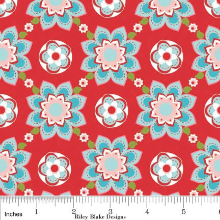 Sugar and Spice Fabric Red Floral with Aqua from Riley Blake Designs 1 Yard New