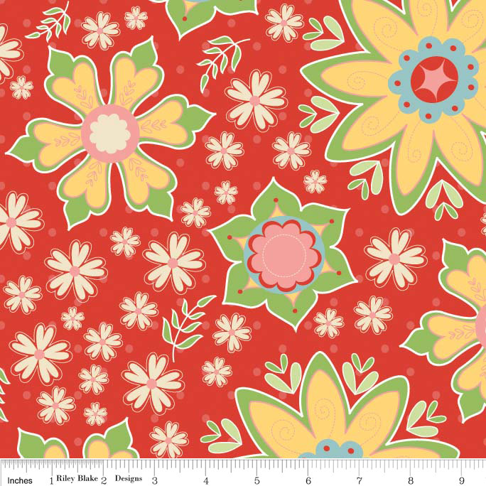 Delighted Fabric Red Large Floral with Yellow from Riley Blake Designs 1 Yard New