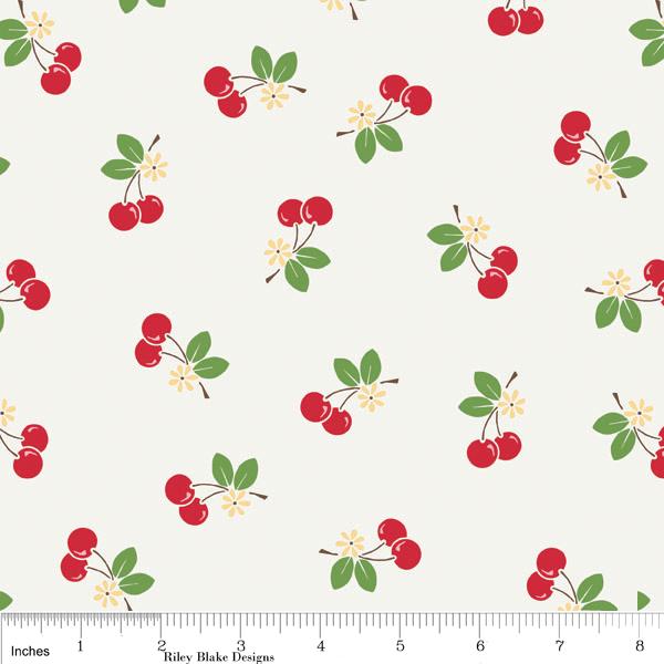 Sew Cherry Fabric Cherries On White From Riley Blake Designs Very Retro 1 Yard New On Luulla