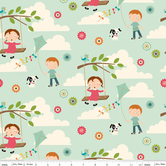 Fly a kite fabric aqua with kids dogs clouds and more for Childrens fabric