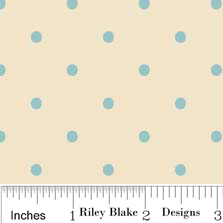 Delighted Fabric White with Blue Polka Dots from Riley Blake Design