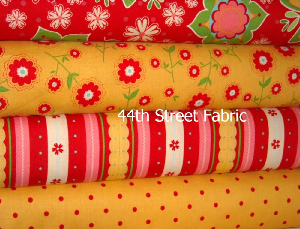 Delighted Fabric Red and Yellow 4 Yard Bundle