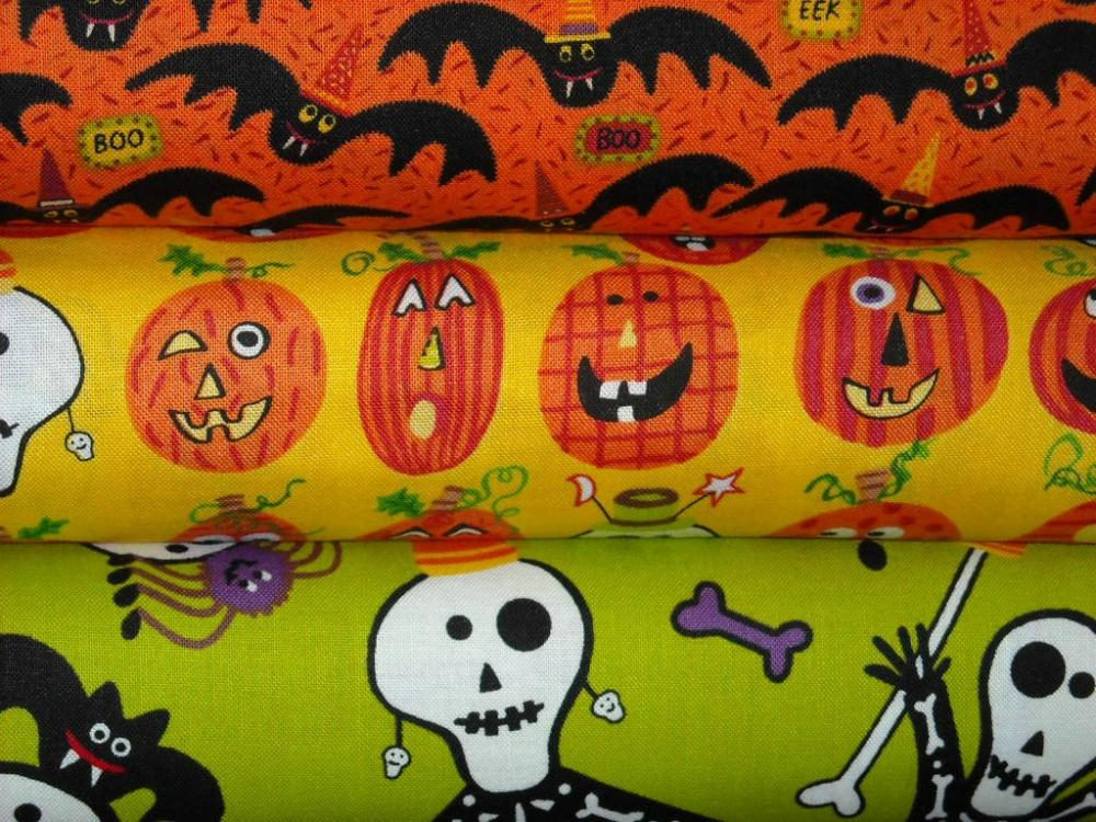 Halloween Fabric Dem Bones Combo by Carol Eldridge 3 Yard Bundle