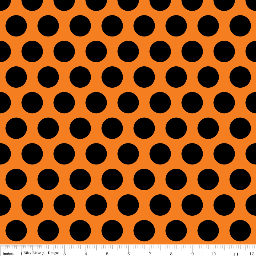 Black Polka Dot on Orange Fabric Costume Clubhouse by Riley Blake Designs
