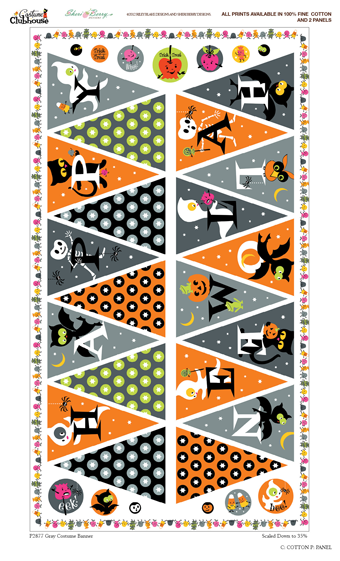 Halloween Fabric Bunting Flags Fabric Panel! Spells Happy Halloween! Riley Blake Designs