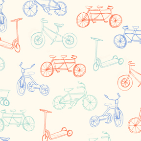 Bikes Flannel Fabric from Michael Miller Aqua and Orange 1 Yard