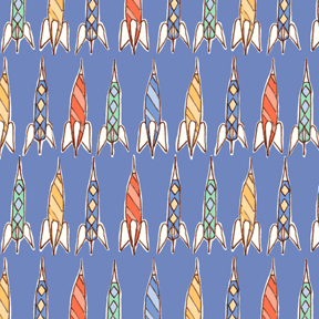 Rocket Stripes Blue Flannel Fabric from Michael Miller