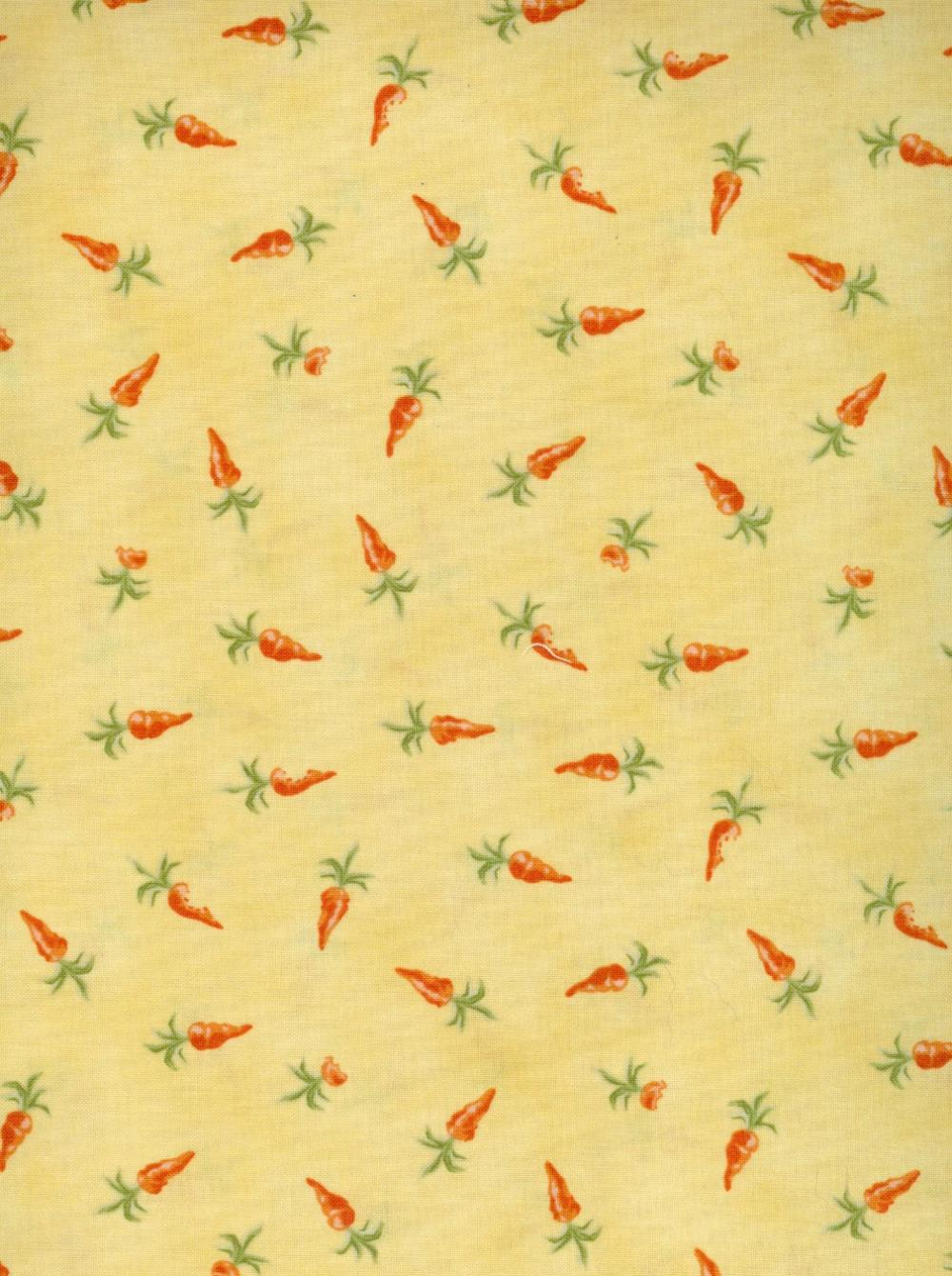 Baby Bunnies Everywhere Fabric Carrots on Yellow