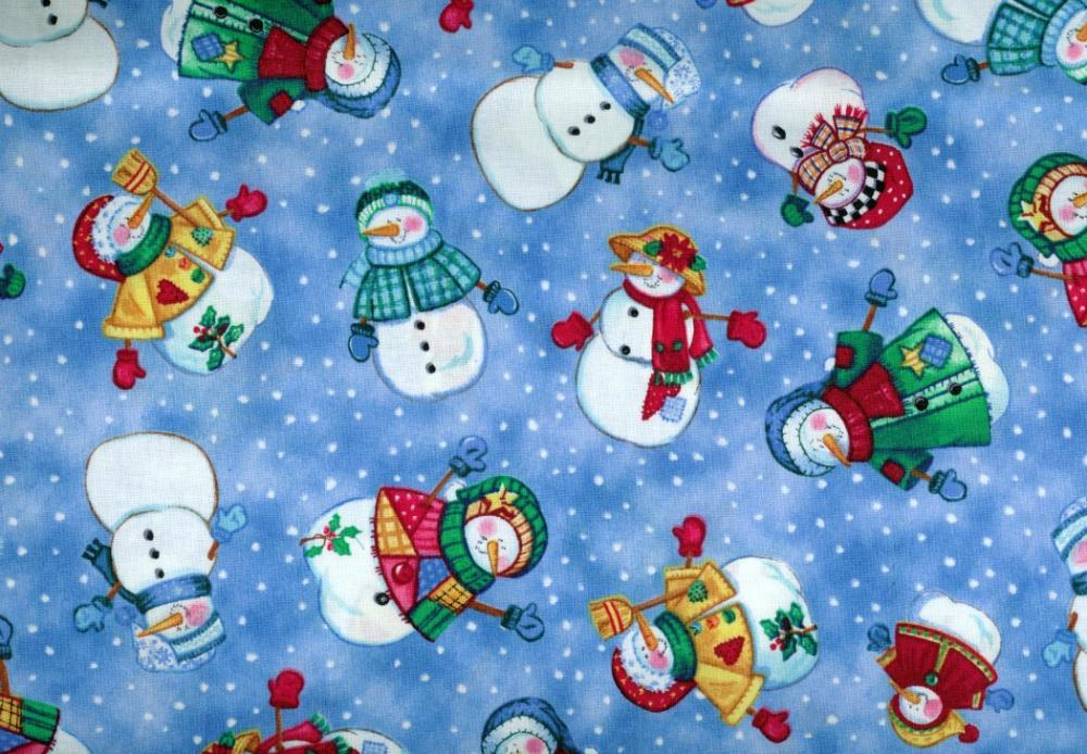 Let it Snow Fabric Tossed Snow People Adorable 1 Yard New